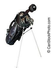 bolsa, aislado, palos de golf