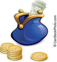 bolsa azul, com, dinheiro