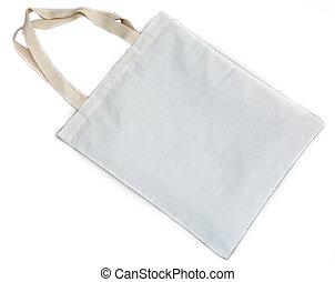 bolsa, blanco, algodón