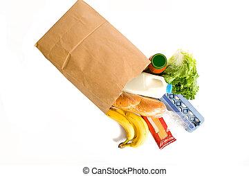 bolsa, blanco, comestibles