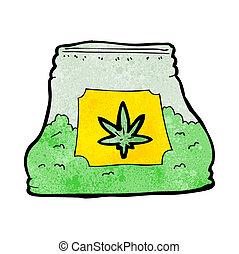 bolsa, caricatura, mala hierba