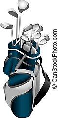 bolsa, clubes, golf