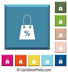 bolsa, compras, afilado, porcentaje, iconos, blanco, botones, cuadrado, señal