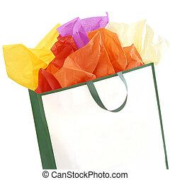 bolsa, compras, coloreó trabajos