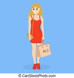 bolsa, compras de mujer, joven, venta