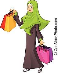 bolsa, compras de mujer, tenencia, musulmán