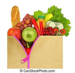 bolsa, compras, desabrochado, comestibles, llenado