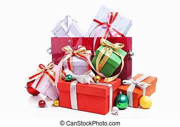 bolsa, compras, presente navidad, pila