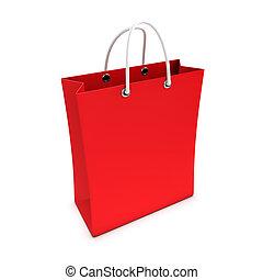 bolsa, compras, rojo, 3d