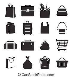 bolsa, conjunto, iconos
