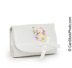 bolsa, criança, fundo, branca