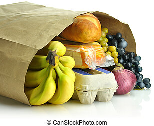 bolsa de papel, comestibles