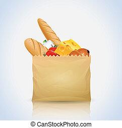 bolsa de papel, con, alimento