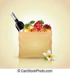 bolsa de papel, con, fruta