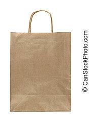 bolsa de papel, con, manija, aislado, blanco, plano de fondo