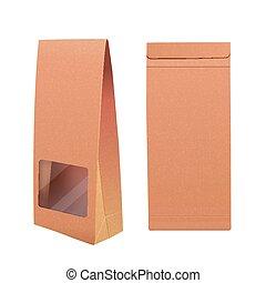 bolsa de papel, con, ventana