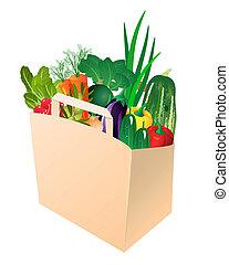 bolsa de papel, con, verduras frescas