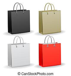 bolsa de papel, conjunto, compras, vacío