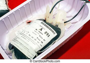 bolsa de sangre, y, plasma, grupo sanguíneo, escriba máquina