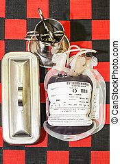 bolsa de sangre, y, plasma, grupo sanguíneo, mecanografiar o