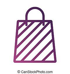 bolsa, degradient, línea, papel, icono, estilo, compras