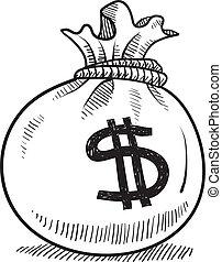 bolsa, dinero, bosquejo