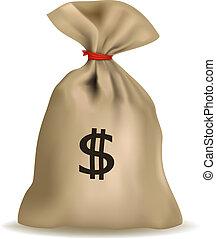 bolsa dinero, con, dólares., vector.