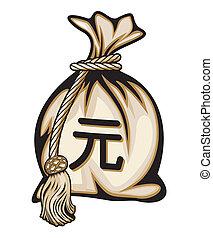 bolsa dinero, con, señal de yenes
