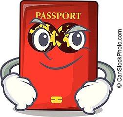 bolsa, el smirking, caricatura, pasaporte, rojo