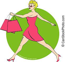 bolsa, excitado, modelo, shopping