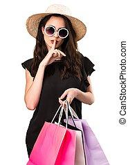 bolsa, gesto, niña, elaboración, hermoso, compras, joven, ...
