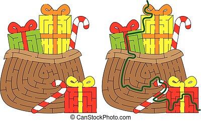 bolsa, laberinto, presentes, santas