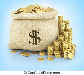 bolsa, lona, coins, llenado