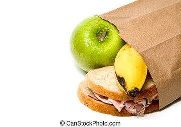 bolsa marrón, almuerzo