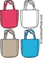 bolsa, moda, ilustración