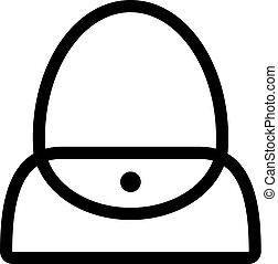 bolsa, mujer, solapa, icono