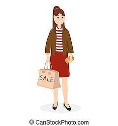 bolsa, mujeres ir de compras, venta, joven