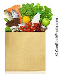 bolsa, papel, comestibles, llenado