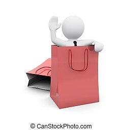 bolsa, papel, compras, hombre, 3d
