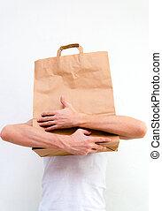 bolsa, papel, hombre, Manos