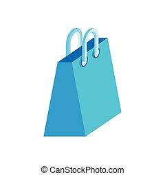 bolsa, papel, icono, isométrico, compras