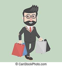 bolsa, proceso de llevar, shoping, hombre de negocios