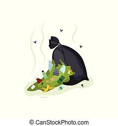 bolsa, saco, vector, rasgado, ilustración, negro,...