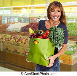 bolsa, tienda de comestibles, mujer, vegetales