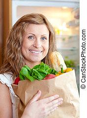 bolsa, tienda de comestibles, mujer, radiante, tenencia