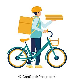 bolsa, trabajador, alimento, entrega, bicicleta, shipping., ...