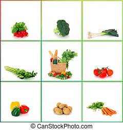 bolsa, vegetales, compras