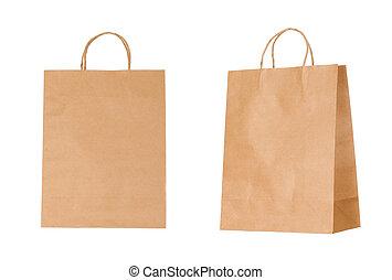 bolsas, aislado, reciclable, papel, plano de fondo, blanco