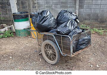 Bolsas, basura, aparejar, disposición, negro, pila, desperdicio