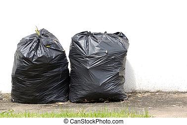bolsas, basura, pared, fondo negro, sendero, blanco